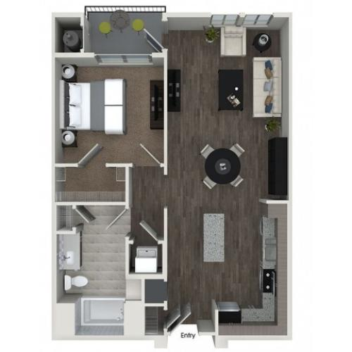 A4 1 bedroom 1 bathroom floorplan at 808 West Apartments in San Jose, CA