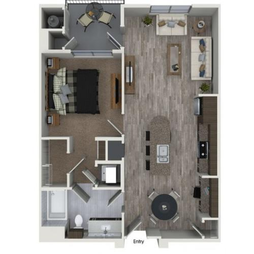 A5 1 bedroom 1 bathroom floorplan at 808 West Apartments in San Jose, CA