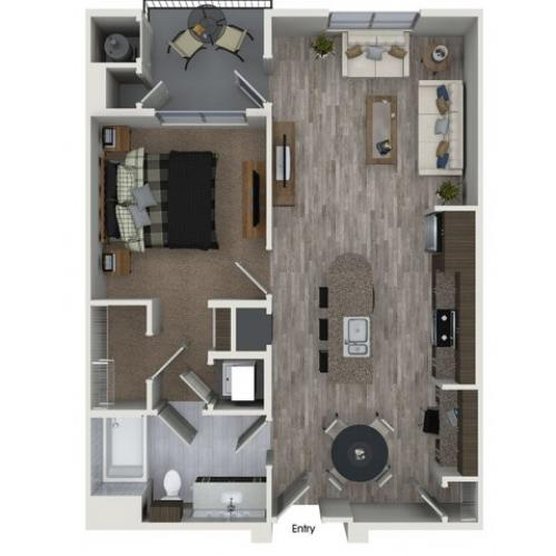 A5 1 bedroom 1 bathroom floorplan at 808 West Apartments in San Jose, CA