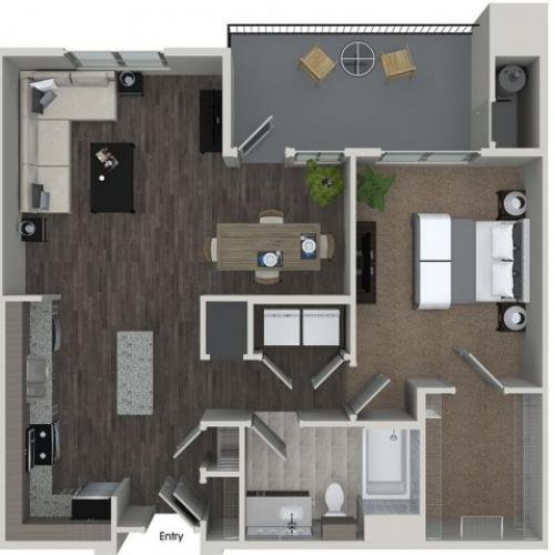 A6 1 bedroom 1 bathroom floorplan at 808 West Apartments in San Jose, CA