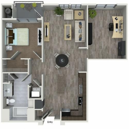 A7D 1 bedroom 1 bathroom plus den floorplan at 808 West Apartments in San Jose, CA
