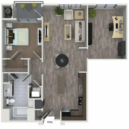 A7D 1 bedroom 1 bathroom plus den floorplan at 808 West Apartments in San Jose, CA