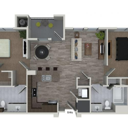 B1 2 bedroom 2 bathroom floorplan at 808 West Apartments in San Jose, CA