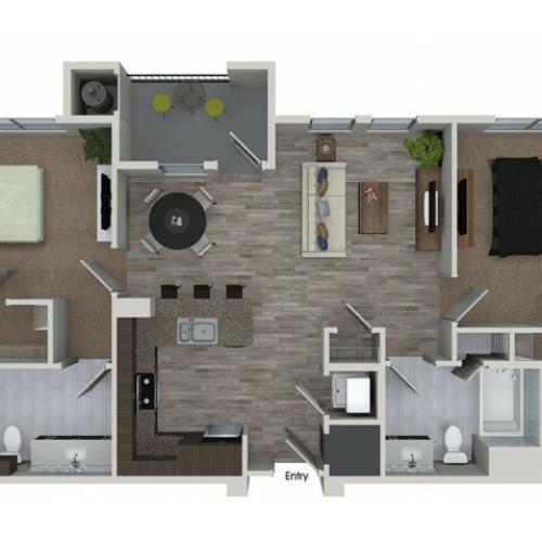 B1 2 bedroom 2 bathroom floorplan at 808 West Apartments in San Jose, CA