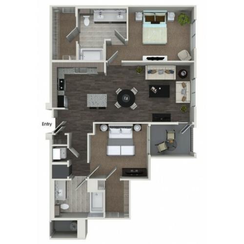 B2 2 bedroom 2 bathroom floorplan at 808 West Apartments in San Jose, CA