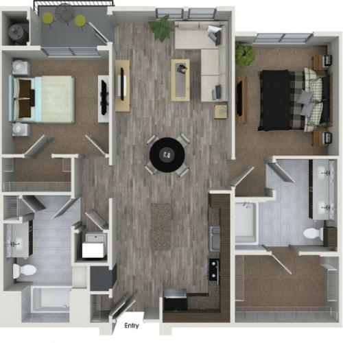 B3 2 bedroom 2 bathroom floorplan at 808 West Apartments in San Jose, CA