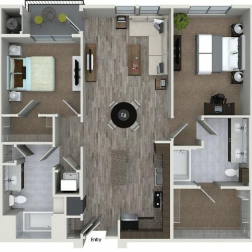 B5 2 bedroom 2 bathroom floorplan at 808 West Apartments in San Jose, CA