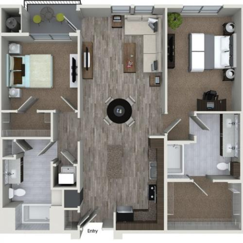 B5 2 bedroom 2 bathroom floorplan at 808 West Apartments in San Jose, CA
