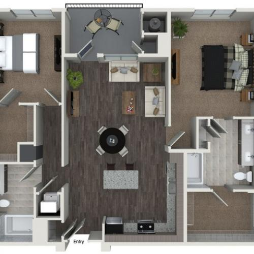 B6 2 bedroom 2 bathroom floorplan at 808 West Apartments in San Jose, CA