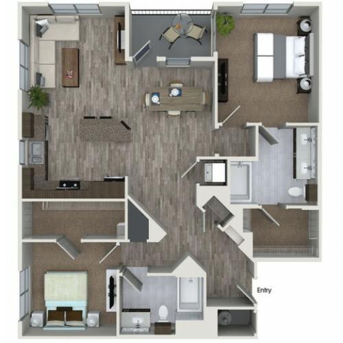 B7 2 bedroom 2 bathroom floorplan at 808 West Apartments in San Jose, CA