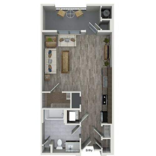 S1 studio floorplan at 808 West Apartments in San Jose, CA