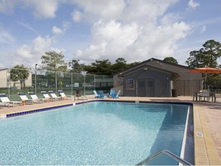 Pool deck at Hidden Harbor Apartments in Royal Palm Beach, FL