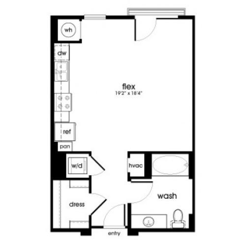S1 Studio Floorplan at Rize Irvine Apartments in Irvine, CA
