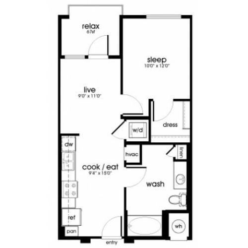 A1 1 bedroom 1 bathroom floorplan at Rize Irvine Apartments in Irvine, CA