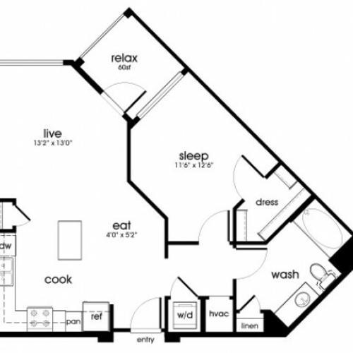 A2 1 bedroom 1 bathroom floorplan at Rize Irvine Apartments in Irvine, CA