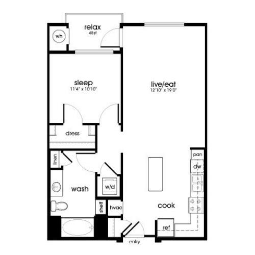 A5 1 bedroom 1 bathroom floorplan at Rize Irvine Apartments in Irvine, CA