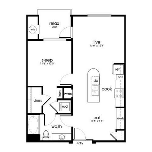 A7 1 bedroom 1 bathroom floorplan at Rize Irvine Apartments in Irvine, CA