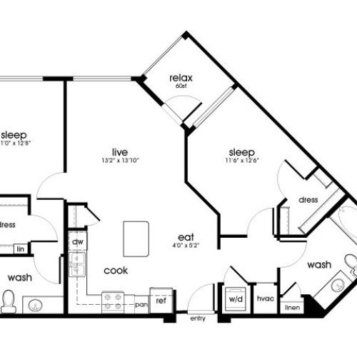 B1 2 bedroom 2 bathroom floorplan at Rize Irvine Apartments in Irvine, CA
