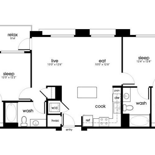 B2 2 bedroom 2 bathroom floorplan at Rize Irvine Apartments in Irvine, CA