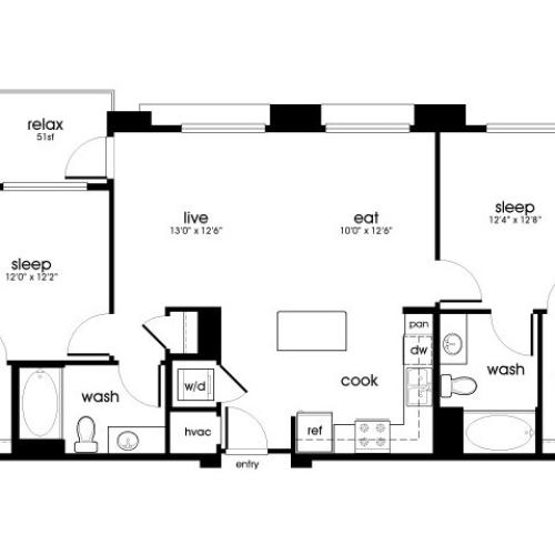 B2 2 bedroom 2 bathroom floorplan at Rize Irvine Apartments in Irvine, CA