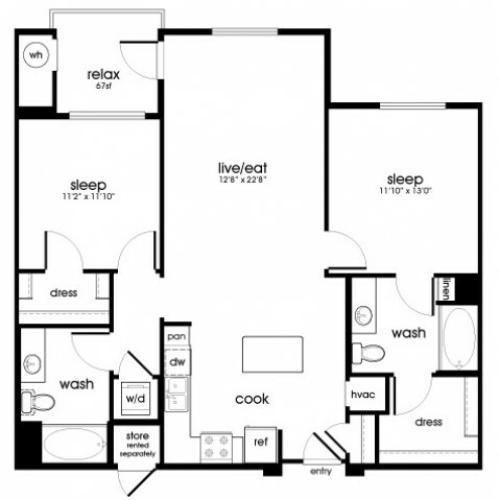 B4 2 bedroom 2 bathroom floorplan at Rize Irvine Apartments in Irvine, CA