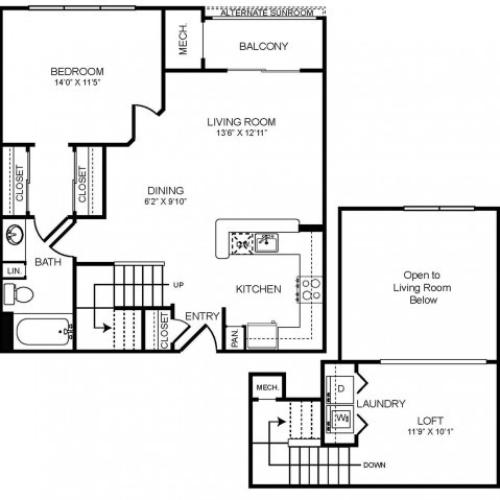 1 bedroom 1 bathroom plus loft A2L floorplan at The Montgomery Apartments in Bethesda, MD