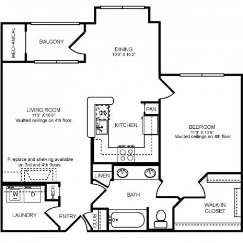 1 bedroom 1 bathroom A3 floorplan at The Montgomery Apartments in Bethesda, MD