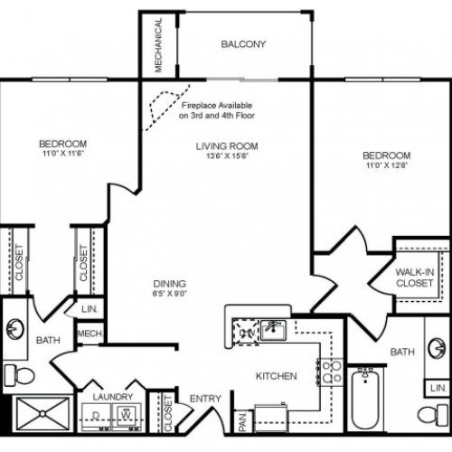 2 bedroom 2 bathroom B2 floorplan at The Montgomery Apartments in Bethesda, MD