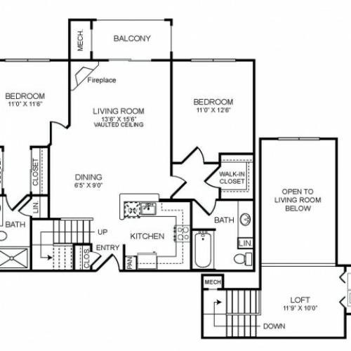 2 bedroom 2 bathroom plus loft B2L floorplan at The Montgomery Apartments in Bethesda, MD
