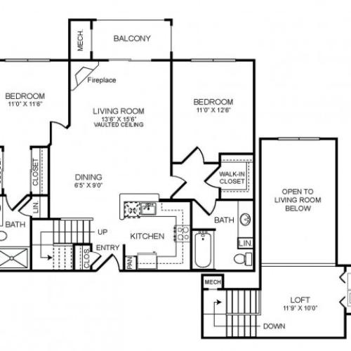 2 bedroom 2 bathroom plus loft B2L floorplan at The Montgomery Apartments in Bethesda, MD