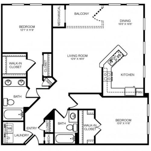 2 bedroom 2 bathroom B3 floorplan at The Montgomery Apartments in Bethesda, MD