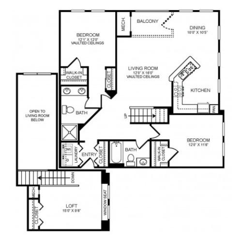 2 bedroom 2 bathroom plus loft B3L floorplan at The Montgomery Apartments in Bethesda, MD