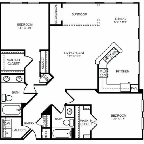 2 bedroom 2 bathroom plus sunroom B3S floorplan at The Montgomery Apartments in Bethesda, MD