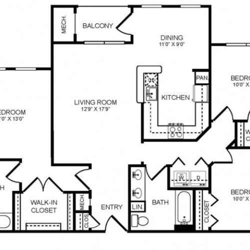 3 bedroom 2 bathroom C2 floorplan at The Montgomery Apartments in Bethesda, MD