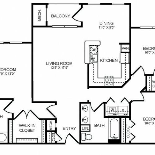 3 bedroom 2 bathroom C2 floorplan at The Montgomery Apartments in Bethesda, MD