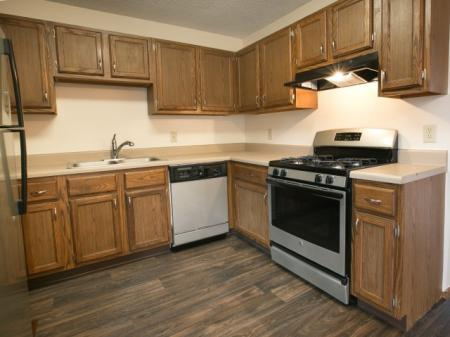 Updated kitchens with silver appliances at Bedford Commons in Columbus, Ohio