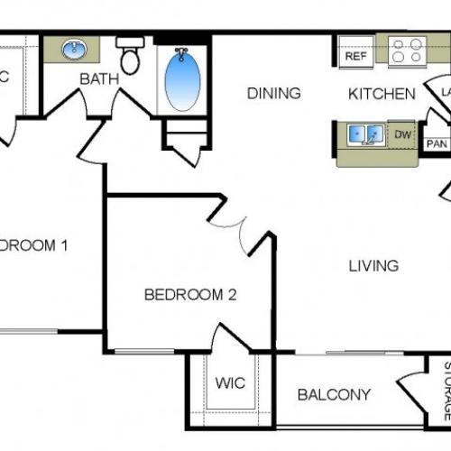 B1 2 bedroom 1 bathroom floorplan at he Reserve at Las Brisas Apartments in Irving, TX