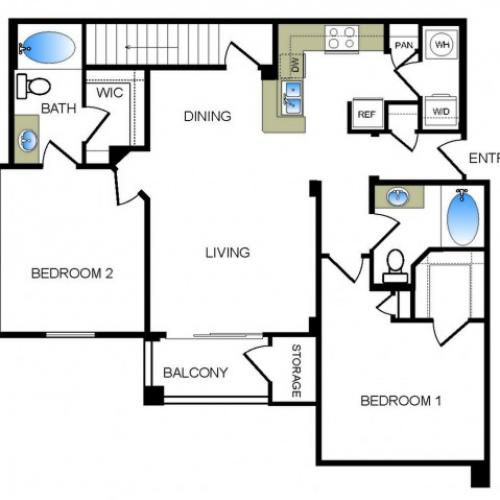 B2 2 bedroom 2 bathroom floorplan at he Reserve at Las Brisas Apartments in Irving, TX