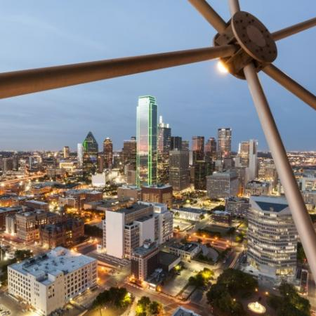 Views of the Dallas skyline at Rienzi at Turtle Creek in Dallas, TX