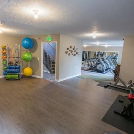Yoga free weights at Mallard's Crossing Apartments in Medina, Ohio