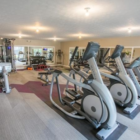 Large, updated fitness center at Mallard's Crossing Apartments in Medina, Ohio