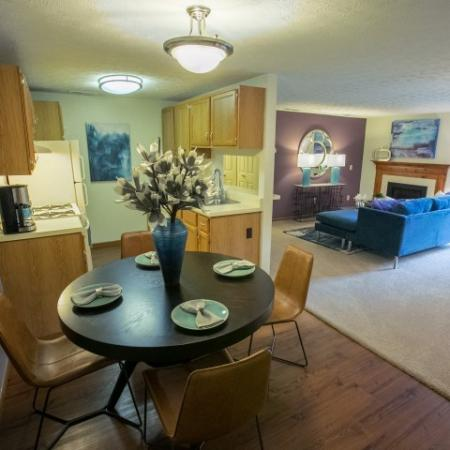 Kitchen and living space at Mallard's Crossing Apartments in Medina, Ohio