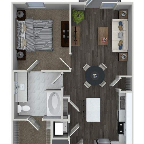 A2 1 bedroom 1 bathroom floorplan at A1 1 bedroom 1 bathroom floorplan at Inwood Apartments in Dallas, TX