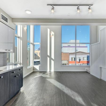 Loft windows at L Seven Apartments in San Francisco CA