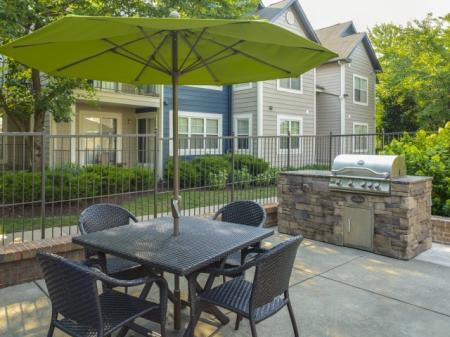 Outdoor patio at Adler at Waters Landing Apartments in Germantown, MD