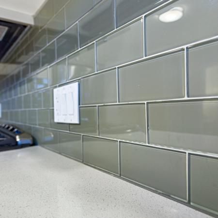 Glass tile backsplashat L Seven Apartments in San Francisco CA