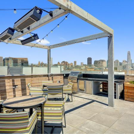 BBQ terrace seating at L Seven Apartments in San Francisco CA