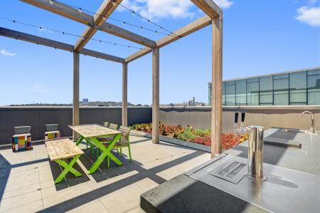 Beer garden tables at L Seven Apartments in San Francisco CA