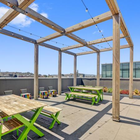 Beer garden views at L Seven Apartments in San Francisco CA