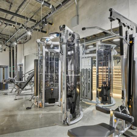 Fitness Center Weight Machine Equipment at L Seven Apartments in San Francisco CA